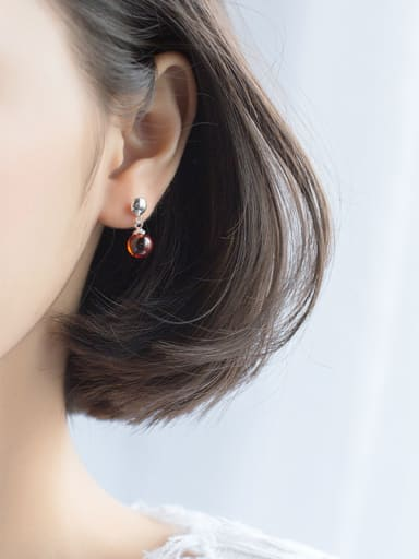 Elegant Red Round Shaped Stone S925 Silver Drop Earrings