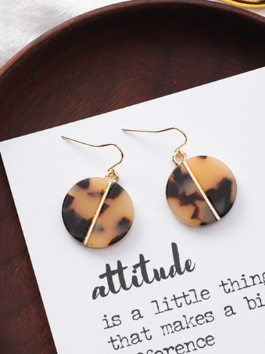 Alloy With 18k Gold Plated Fashion Round shell Drop Earrings