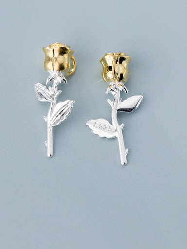 925 Sterling Silver With Rhinestone  Personality Flower Charms