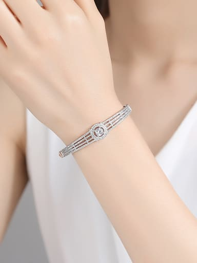 925 Sterling Silver With Cubic Zirconia Delicate Geometric Bangles