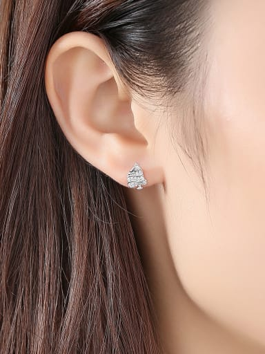 925 Sterling Silver With  Cubic Zirconia Personality Christmas Tree Stud Earrings