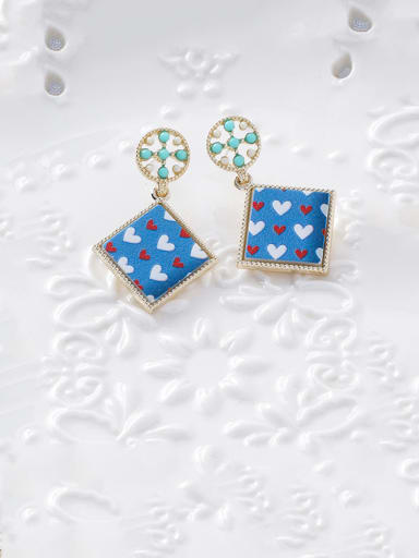 Alloy With Rose Gold Plated Simplistic Geometric Printing Drop Earrings