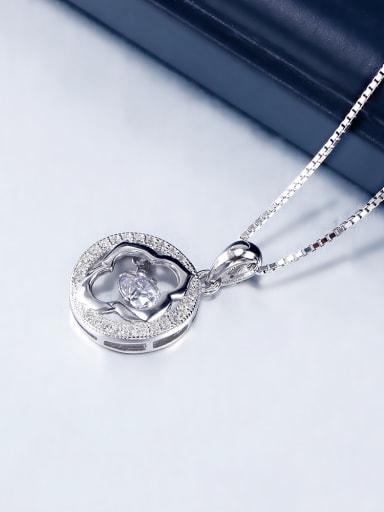 Fashion Zircon Round Silver Necklace