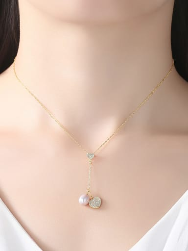 Pure silver zircon love  natural freshwater pearl necklace