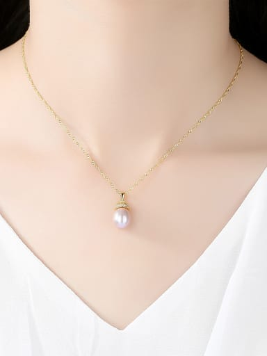 Sterling silver 9-10mm natural freshwater pearl necklace