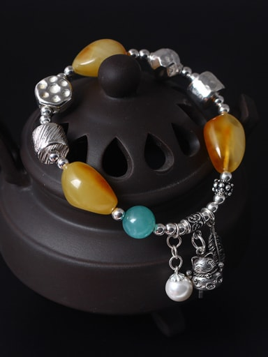Beautiful Natural Yellow Beeswax Stones Bracelet