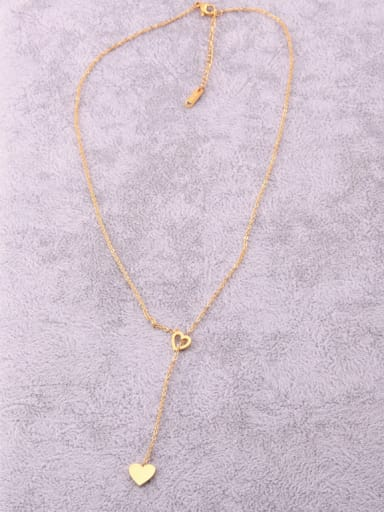Titanium With Gold Plated Simplistic Heart  Hollow Locket Necklace