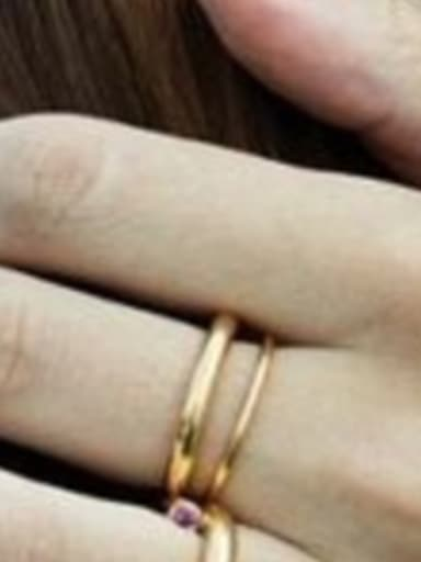 Titanium With Gold Plated Simplistic Round Stacking Rings