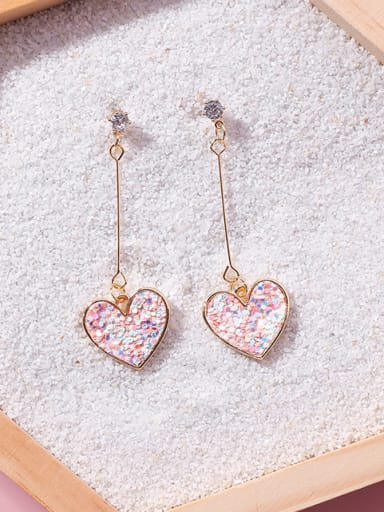 Alloy With 18k Gold Plated Romantic Heart Drop Earrings