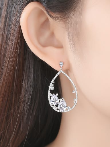 Copper inlaid AAA cubic zirconia  Water-Drop bling bling Stud earring