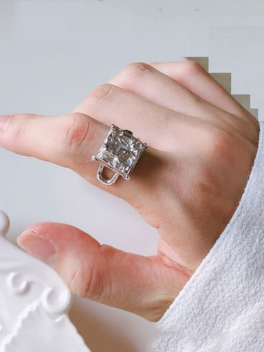 925 Sterling Silver With Rhodium Plated Punk Geometric Free Size Rings