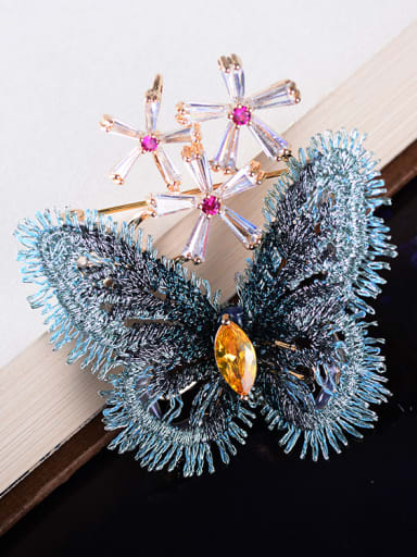 Copper With Cloth Romantic Butterfly Brooches