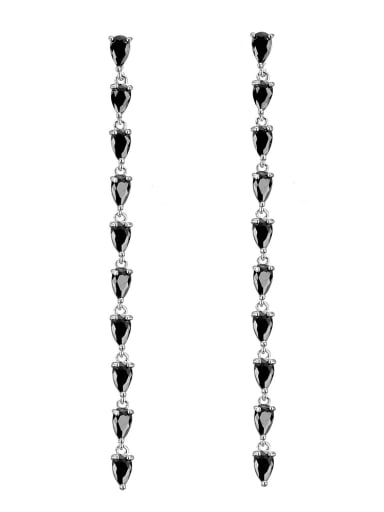 Copper With 18k White Gold Plated Classic Chain Wedding Drop Earrings