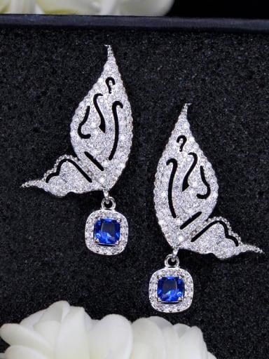Copper inlaid AAA zircon Bow Earrings