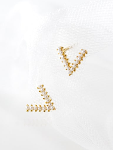 925 Sterling Silver With Gold Plated Cute Geometric Stud Earrings