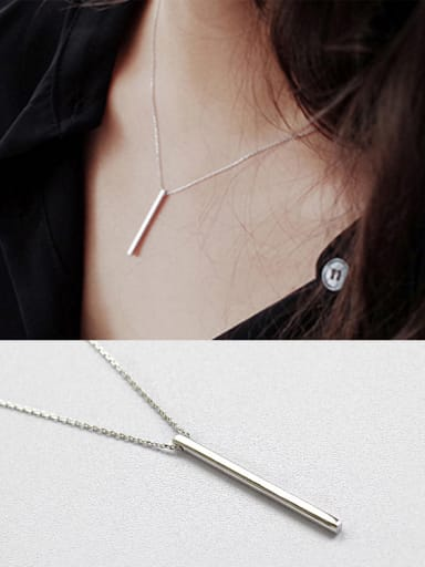 Sterling Silver simple geometric Square Silver Necklace
