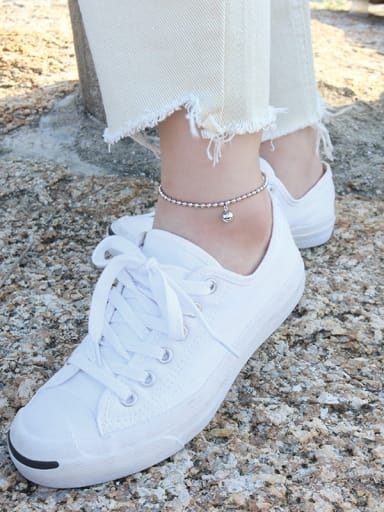 925 Sterling Silver With Platinum Plated Simplistic beads Anklets
