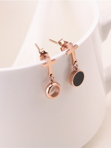 Fashion Exaggerated Black Circle Cross Drop Earrings