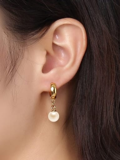 Trendy Gold Plated Artificial Pearl Titanium Drop Earrings