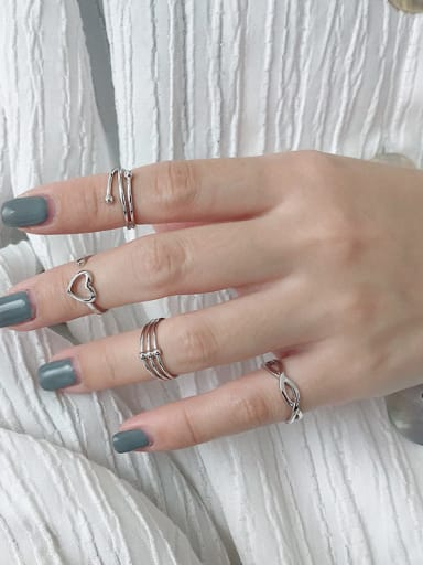 925 Sterling Silver With Platinum Plated Simplistic Irregular Free Size Rings