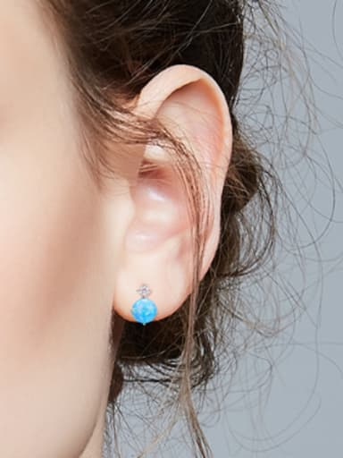 Tiny Round Opal stone 925 Silver Stud Earrings