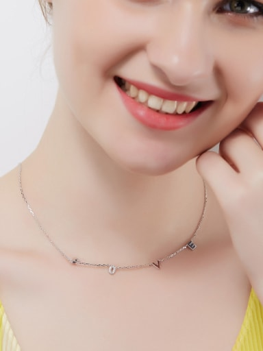 Simple LOVE Tiny Zirconias 925 Silver Necklace