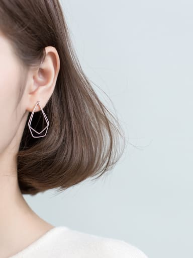 925 Sterling Silver With Platinum Plated Trendy Geometric Drop Earrings