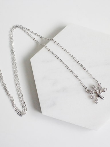 Simple Tiny Zircon-studded Tree Pendant Silver Necklace