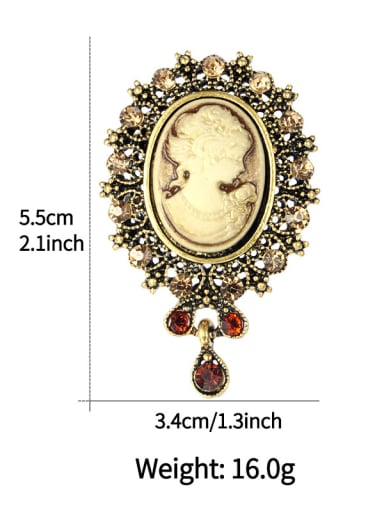 Copper With Gold Plated Vintage Beauty Woman  Brooches