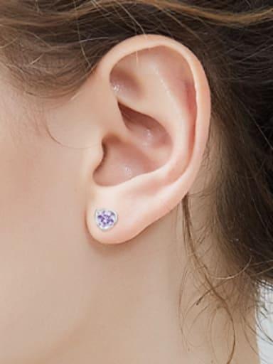 Tiny Purple Zircon Heart-shaped Stud Earrings