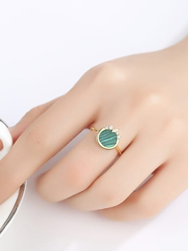 925 Sterling Silver With Enamel Simplistic Round  Free Size  Rings