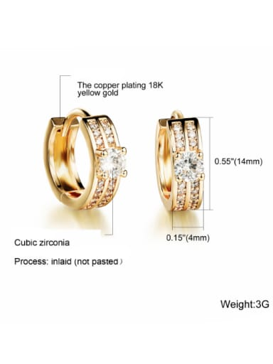 Copper With 18k white Gold Plated Classic Round Earrings