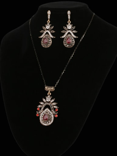 Retro style Red Resin stone White Crystals Alloy Two Pieces Jewelry Set