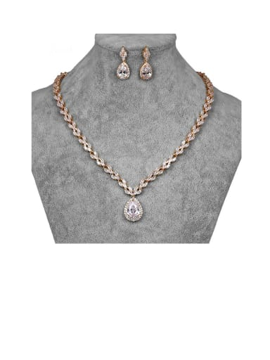 Copper With Cubic Zirconia Delicate Water Drop Earrings And Necklaces 2 Piece Jewelry Set