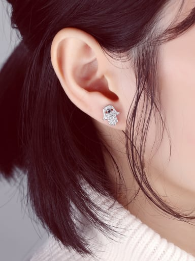Stainless Steel With Gold Plated Personality Evil Eye Stud Earrings