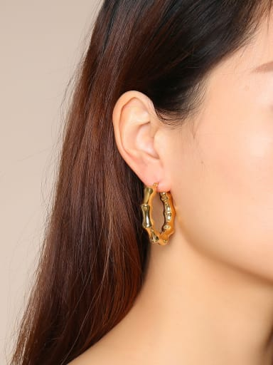 Stainless Steel With Gold Plated Simplistic Round Hoop Earrings
