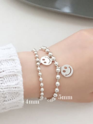 Simple Little Smiling Face Beads Silver Bracelet