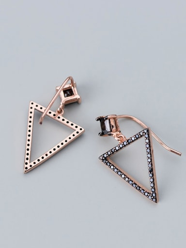 925 Sterling Silver With Rose Gold Plated Personality Triangle Hook Earrings