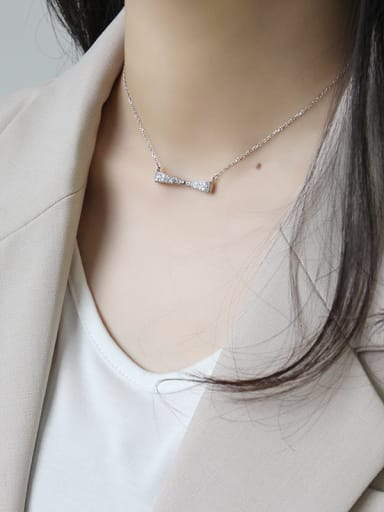 925 Sterling Silver With Platinum Plated Simplistic bow Necklaces
