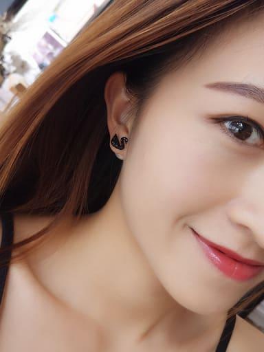 Women Swan Shaped Zircon stud Earring