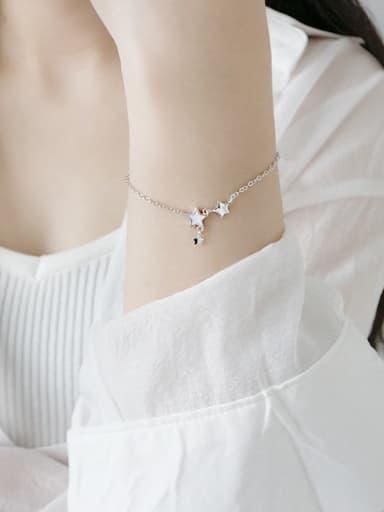 Sterling Silver White-enamel Star Bracelet