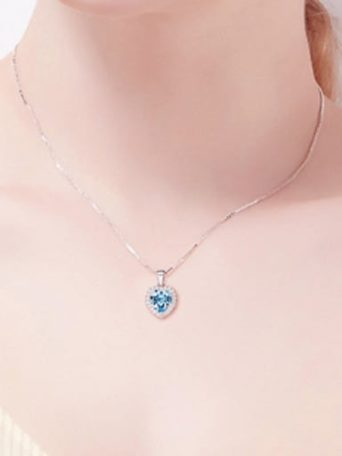 2018 2018 2018 S925 Silver Heart-shaped Necklace