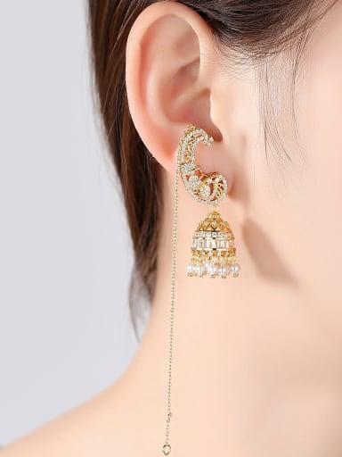 Copper With Gold Plated Fashion Statement Party Chandelier Earrings