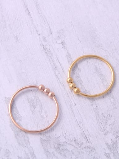 Titanium With Rose Gold Plated Simplistic Round Midi Rings