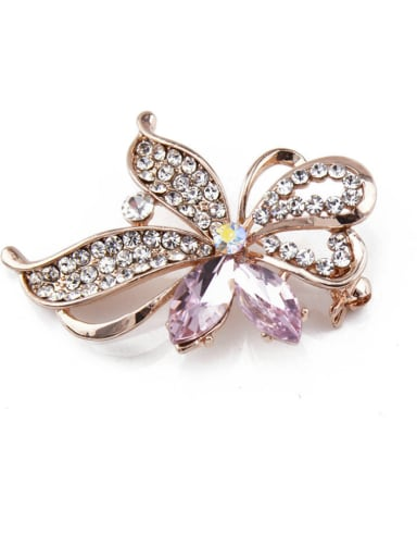 Rose Gold Plated Crystal Brooch