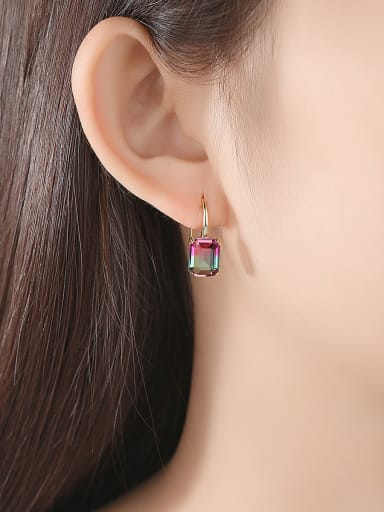 Copper With Cubic Zirconia Luxury Square Hook Earrings