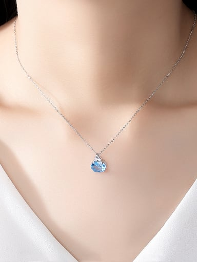 925 Sterling Silver With Platinum Plated Simplistic Oval  Cubic Zirconia Necklaces
