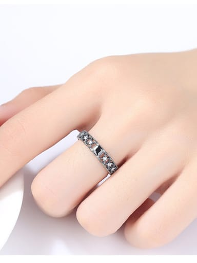 Sterling Silver classic retro style AAA zircon free size ring