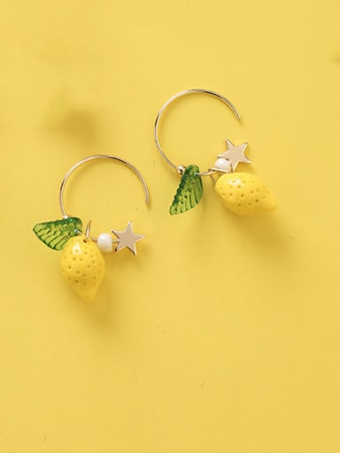 Alloy With Rose Gold Plated Cute Friut Hook Earrings