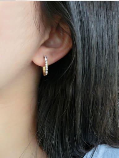 Fashion Temperament Titanium Steel Zircon hoop earring
